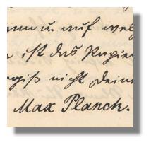 Max Planck Unterschrift