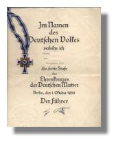 Mutterkreuz-Urkunde im Nationalsozialismus