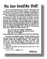 An das deutsche Volk – Aufruf von Kaiser Wilhelm II. zur Mobilmachung vom 6. August 1914