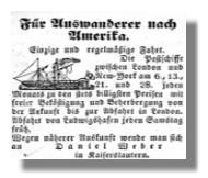 Anzeige: Überfahrt für Auswanderer