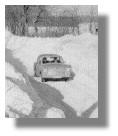 Verschneite Landstraße auf Rügen 1978/79
