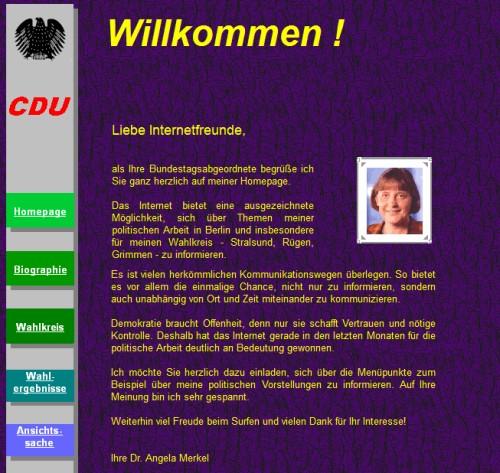 Webseite Angela Merkel 2000