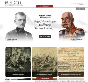 Virtuelle Ausstellung, Screenshot der Startseite