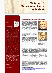 Blätter für Genossenschaftsgeschichte, Ausgabe 1 (April 2014)